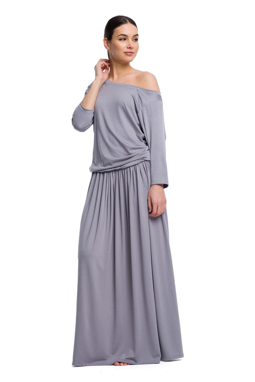 3381fe24 Długa sukienka MAXI wiskoza - szary