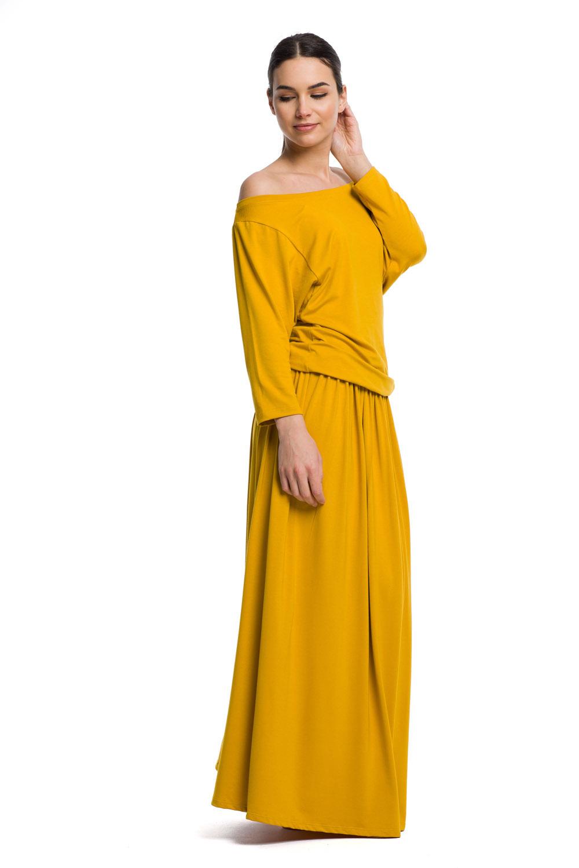 Sukienka długa MAXI wiskoza musztardowy