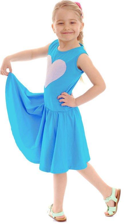 5e18d10ea97cea ... Bajeczna rozkloszowana sukienka dla dziewczynki z motywem SERCE  turkusowy ...